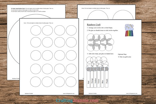 pages of rainbow craft printable