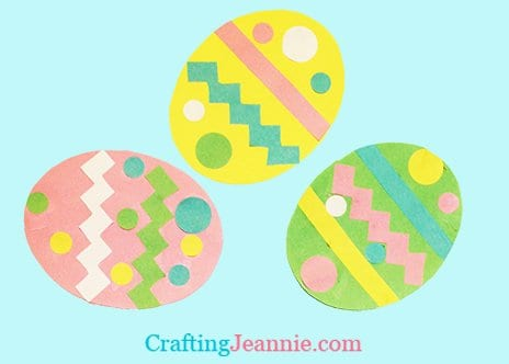 three pastel paper easter eggs by Crafting Jeannie