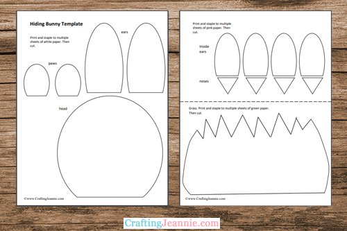 hiding bunny craft template printable pages