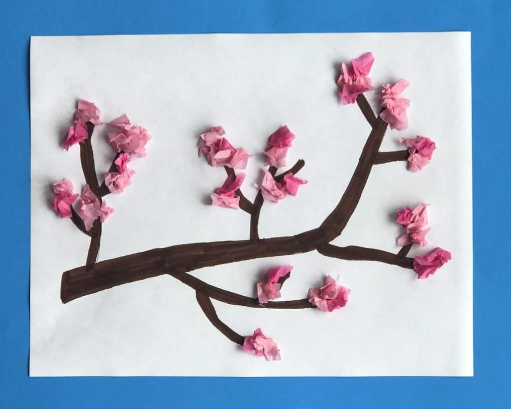branch with spring blossoms kid craft