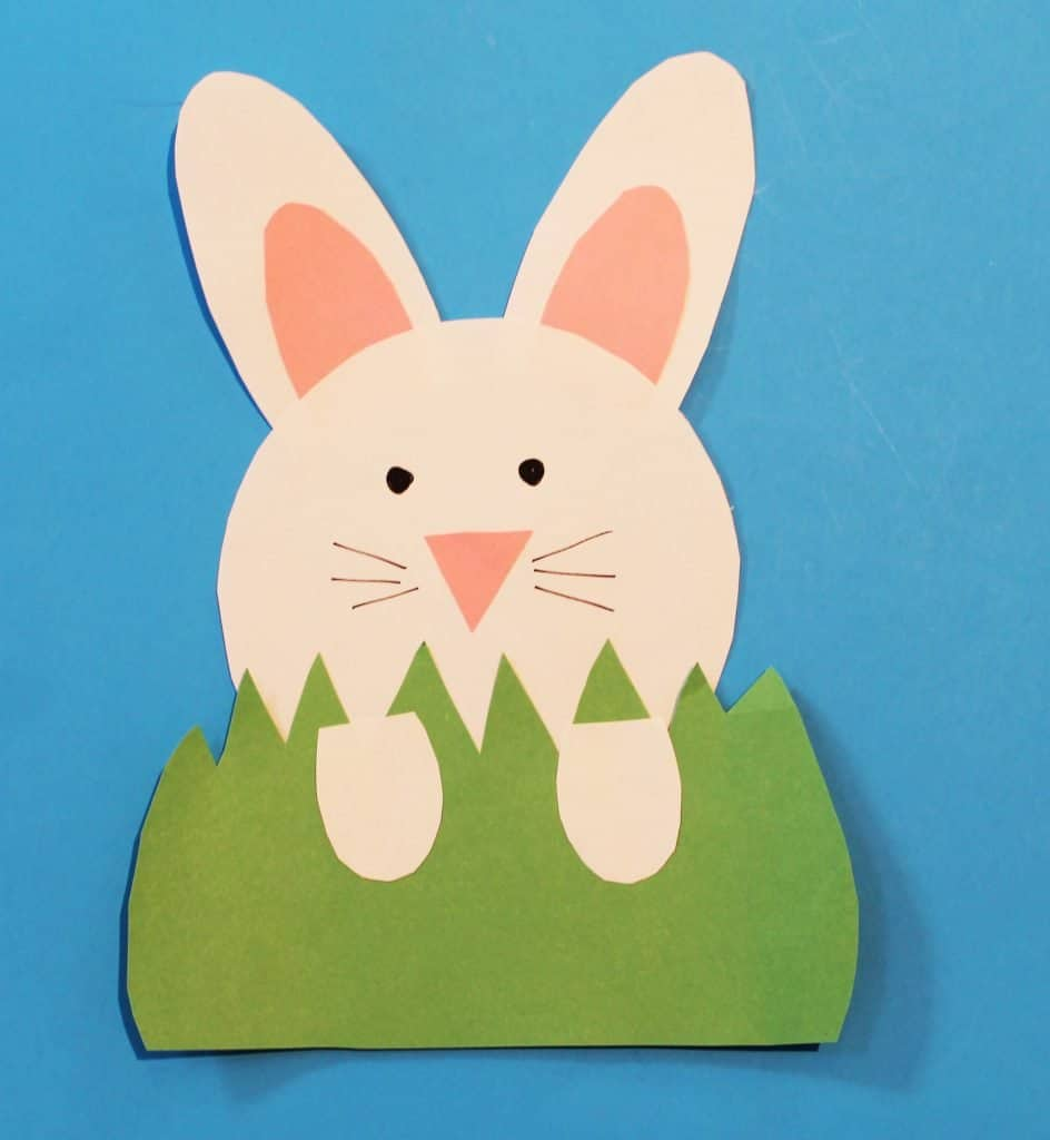 paper bunny hiding in the grass kid craft