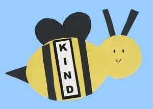 bee craft for kids with the word kind