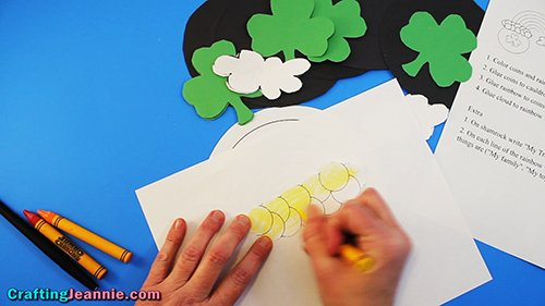 hand coloring the coins yellow