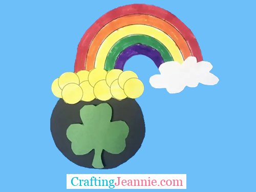 st patrick's day craft for group of kids - rainbow and coins coming out of cauldron