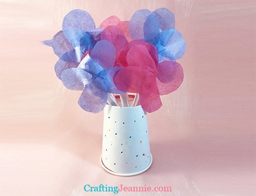 tissue flowers in paper cup vase craft