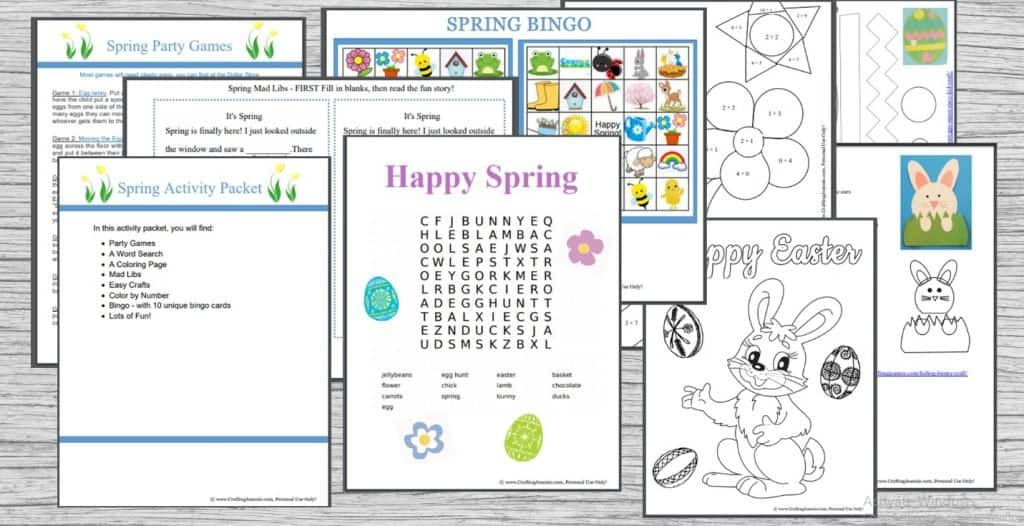 Spring Easter Party Activity Pack picture of all pages included