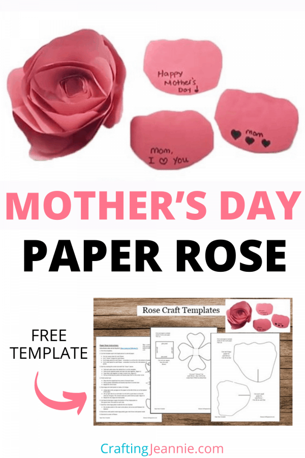 Mother's Day Rose Craft Pin by Crafting Jeannie