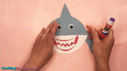 gluing on the shark craft eyes