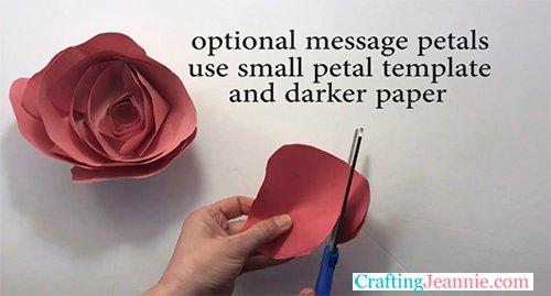 making message petals with darker paper