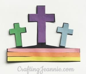 Colorful paper Easter crosses craft for kids