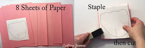 staple rose template to paper