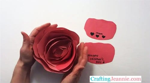 Paper Rose with Message Petals by Crafting Jeannie