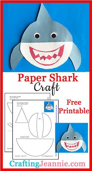 Paper Shark craft image for Pinterest