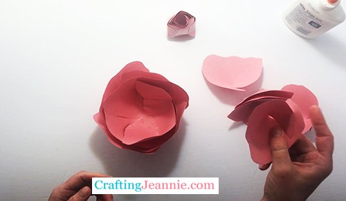 adding smaller petals to the rose