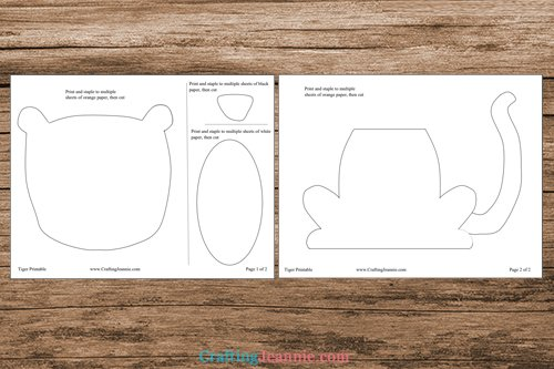 tiger craft template printable pages