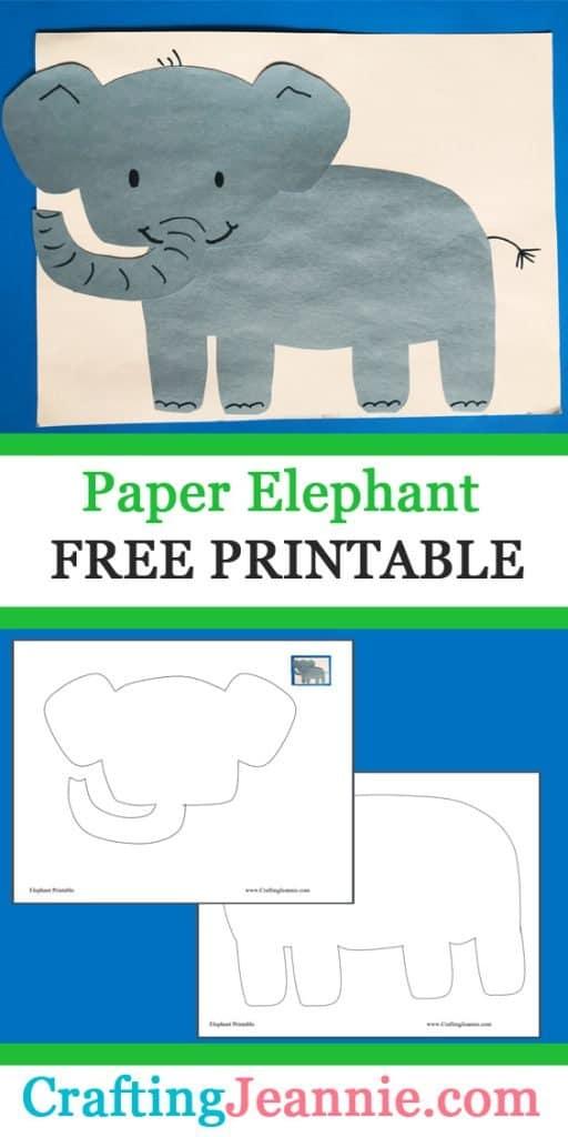 paper elephant craft image for Pinterest