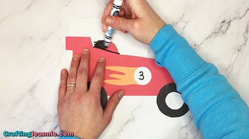 coloring window on paper race car