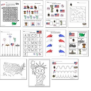 USA Preschool Worksheets
