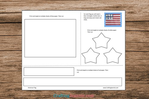 American Flag Craft Template by Crafting Jeannie