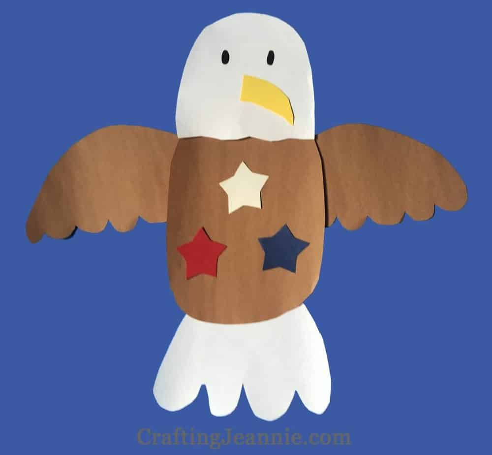 Eagle Paper Craft with red white and blue stars on chest