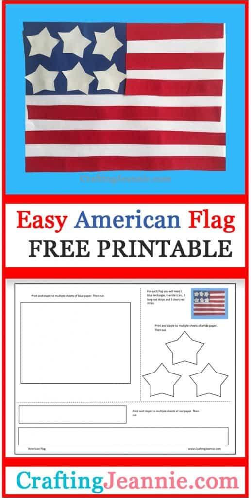easy american flag craft image for Pinterest