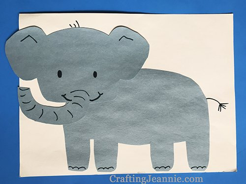elephant craft with free printable template by Crafting Jeannie