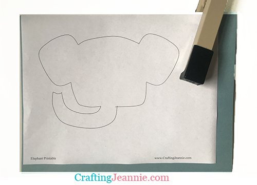 elephant craft printable stapled to paper