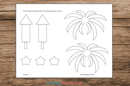 page of Fireworks Craft printable