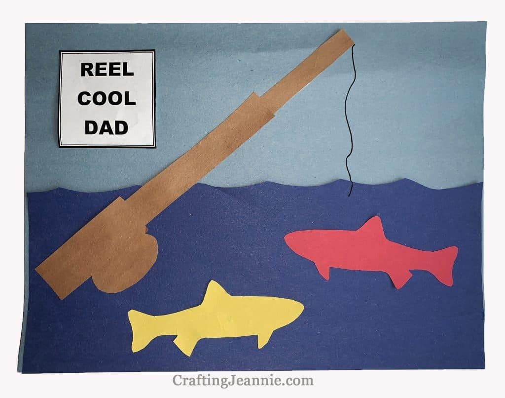 Fishing Father's Day Craft - Golf ball on tee with putting green and reel cool dad