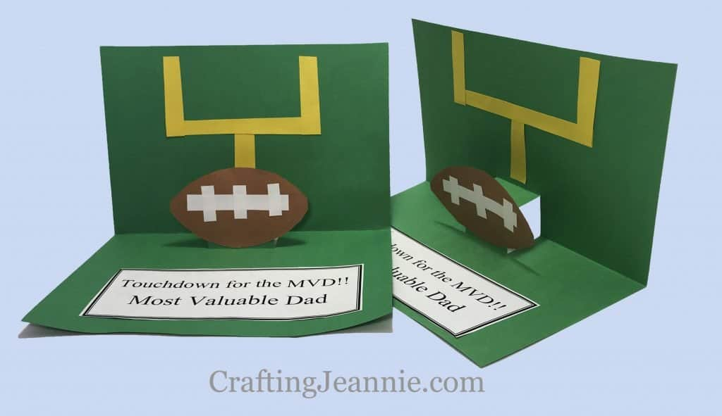 two Football Father's Day Cards - Football pop up card with brown football and yellow goalpost