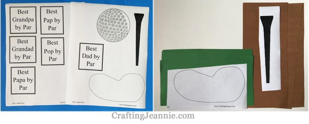 fathers day golf craft printable ready for cutting