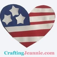 Heart with american flag easy craft for group of kids