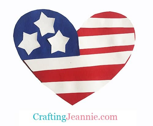 Heart shaped American flag craft for group of kids