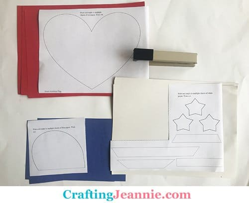 heart flag craft template ready for cutting