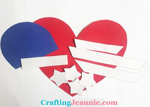 heart american flag craft pieces cut out