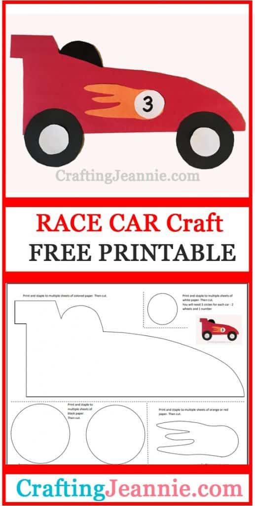 race car craft image for Pinterest