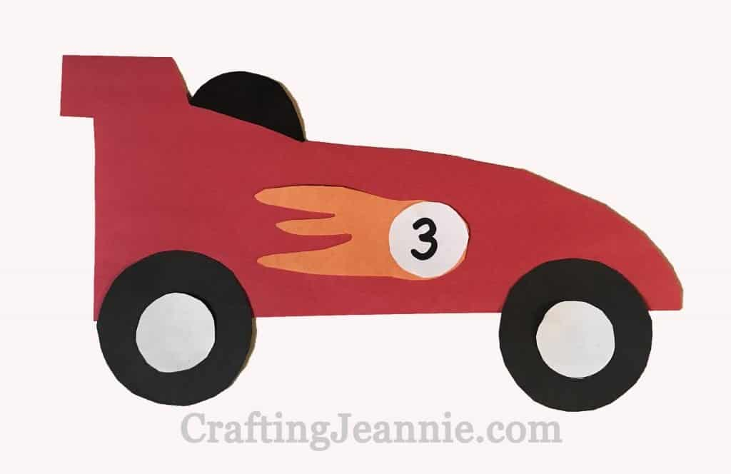 race car craft with flame and number for group of kids
