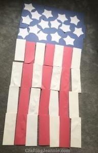 Huge door american flag on the floor before it is glued together