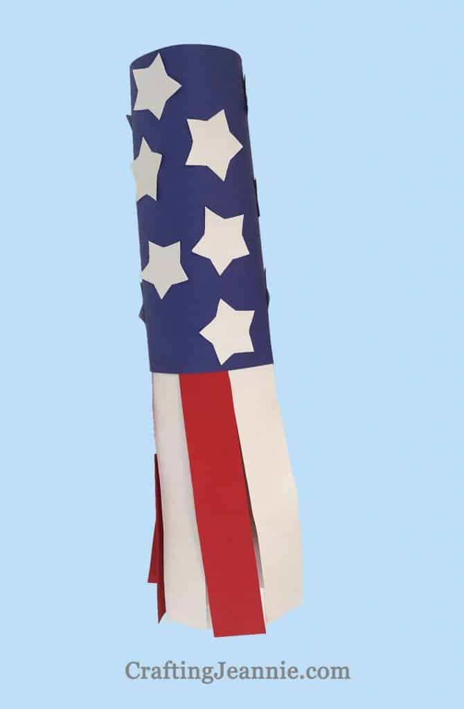 american flag windsock easy craft for group of kids