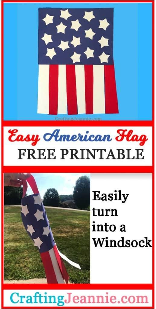 Windsock American Flag craft image for Pinterest