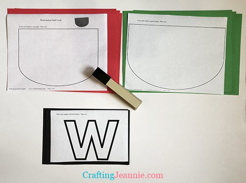 Watermelon craft template stapled to paper