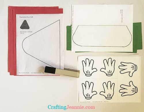 Watermelon slice craft template stapled to paper