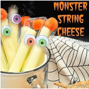 add googly eyes to string cheese for halloween snack