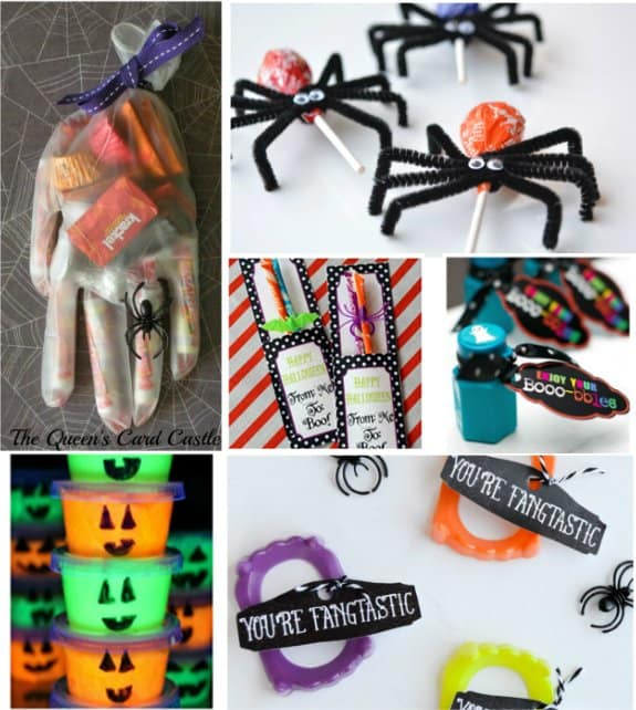 halloween treat bags with spider lolipops, glove filled with candy, pencils, and more