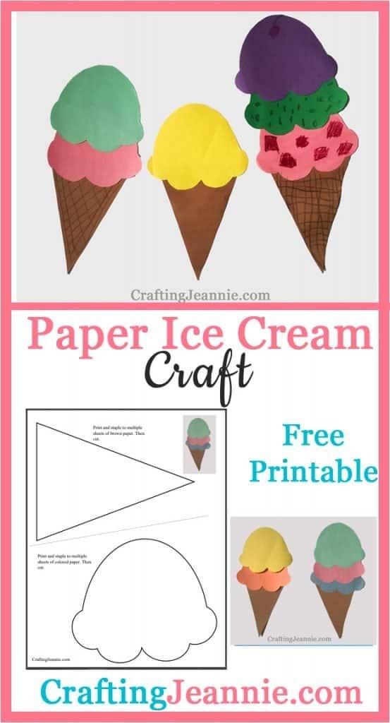 paper ice cream craft image for Pinterest