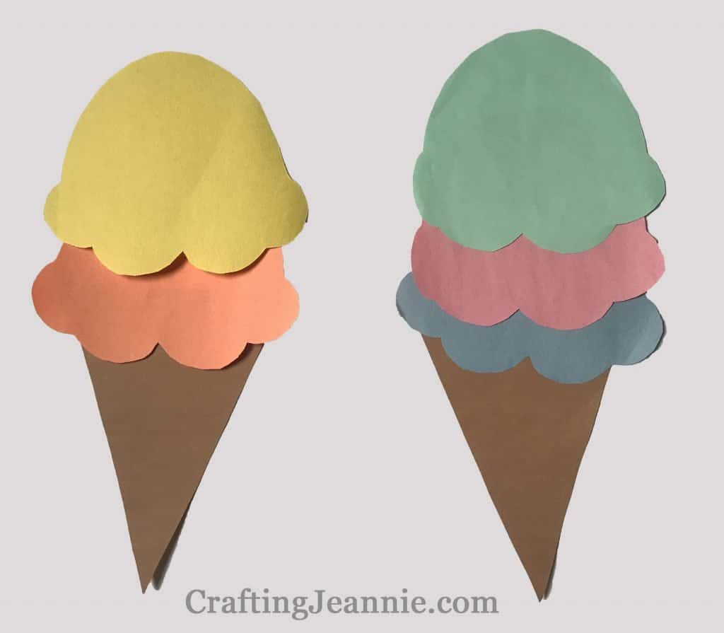 Ice Cream Cone paper Craft - two cones with different colored scoops of ice cream