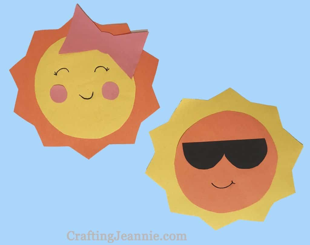 Paper Sun craft one sun with bow and one sun with sunglasses