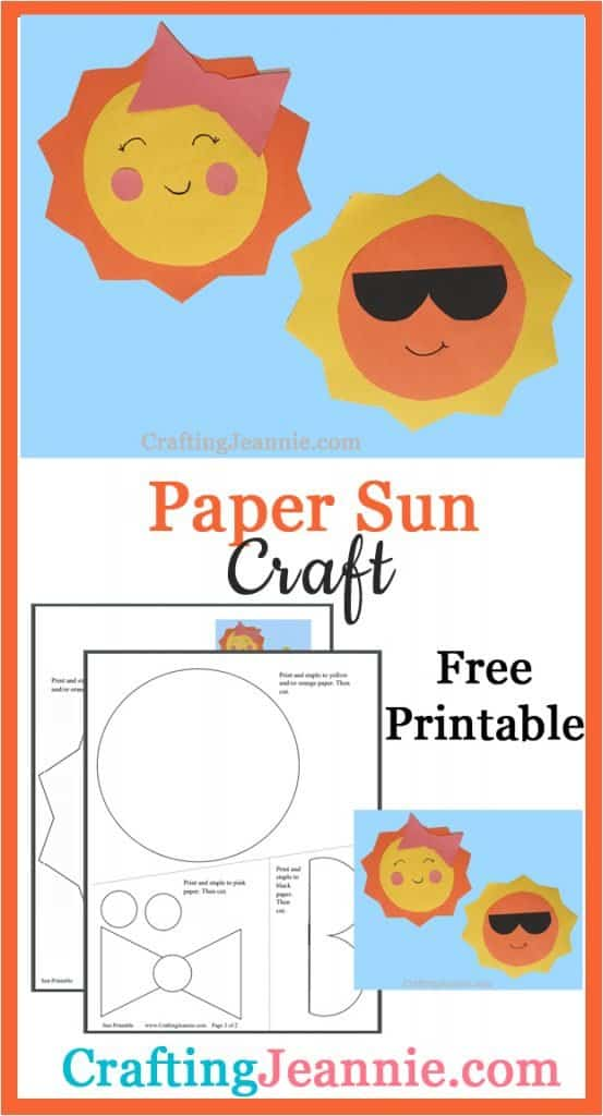 cute paper sun craft image for Pinterest