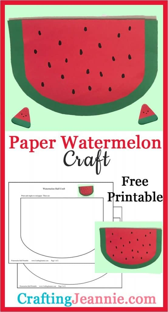 paper watermelon craft image for Pinterest