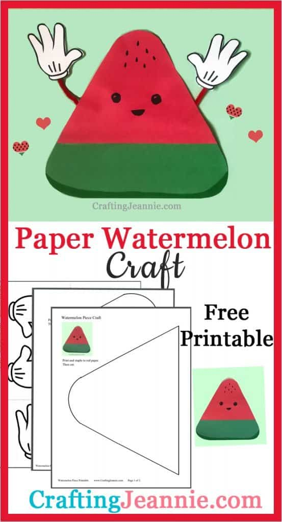 cute paper watermelon craft image for Pinterest